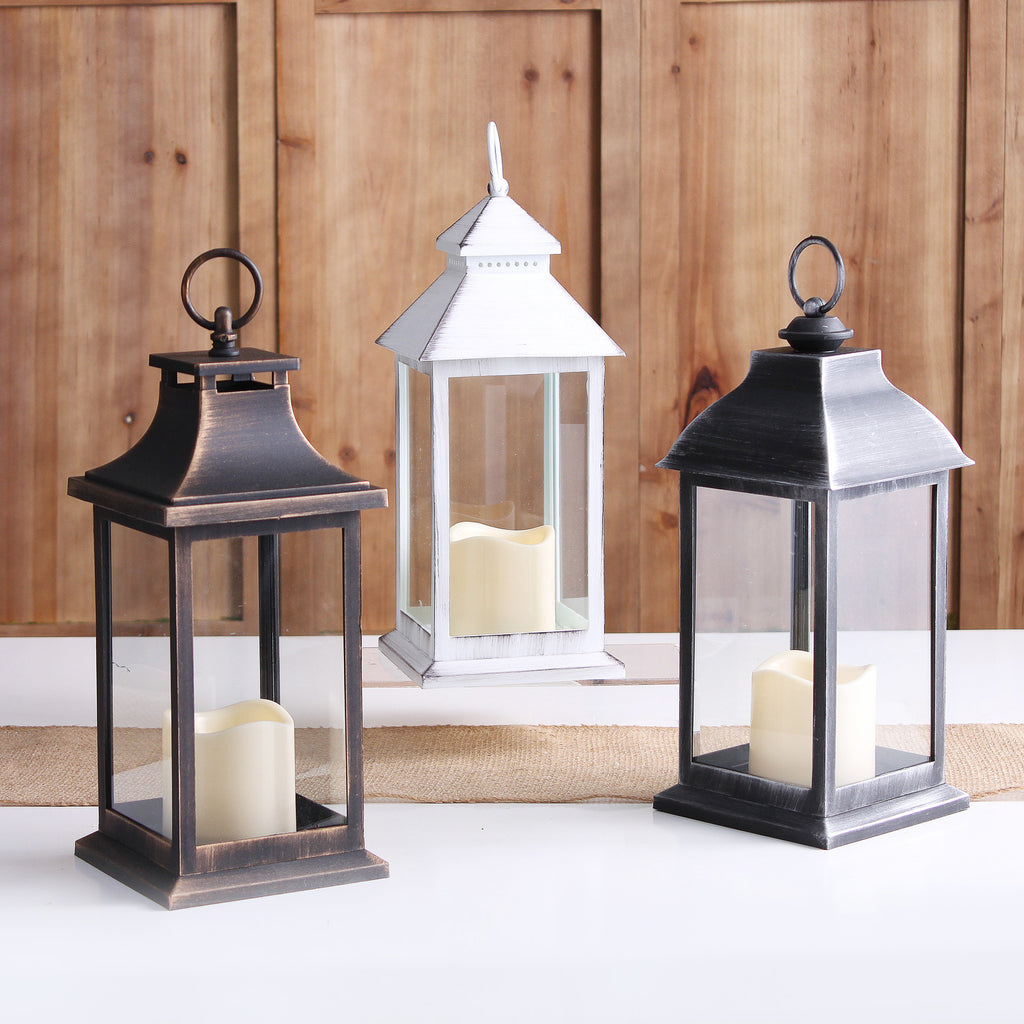 Brushed  Candle Lantern with Flameless Amber LED Candle - White, Silver, Bronze
