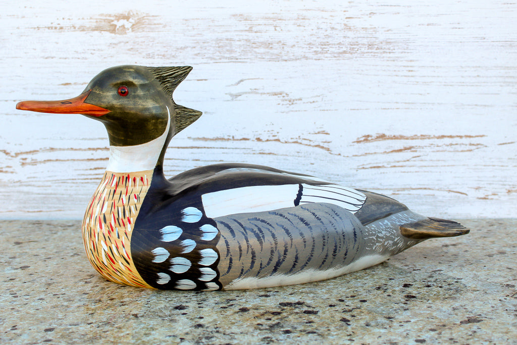 Hand Carved Red-Breasted Merganser Premier Drake Full Size Decorative Duck Decoy