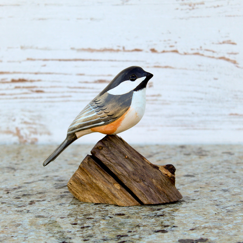 Hand Carved Male Chickadee Life Sized Perched on Wood Stand