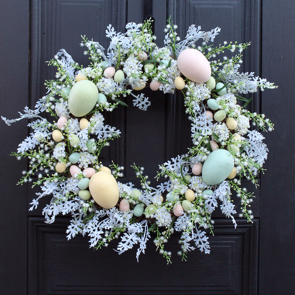 Whimsical Easter's Magic Pastel Glitter Sparkle Egg Easter Wreath Decoration