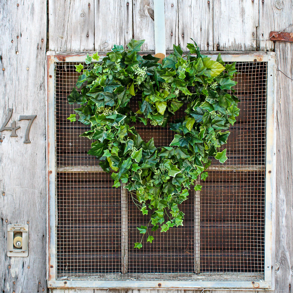 Flourishing Everyday Greenery, Berry & Ivy Heart Shape Silk Wreath