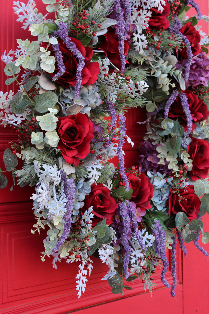 Red Winter Rose, Hydrangea & Purple Wisteria Christmas Front Door Estate Wreath