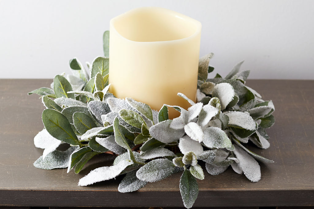 Iced Lamb's Ear Mini Wreath or Candle Wreath Centerpiece