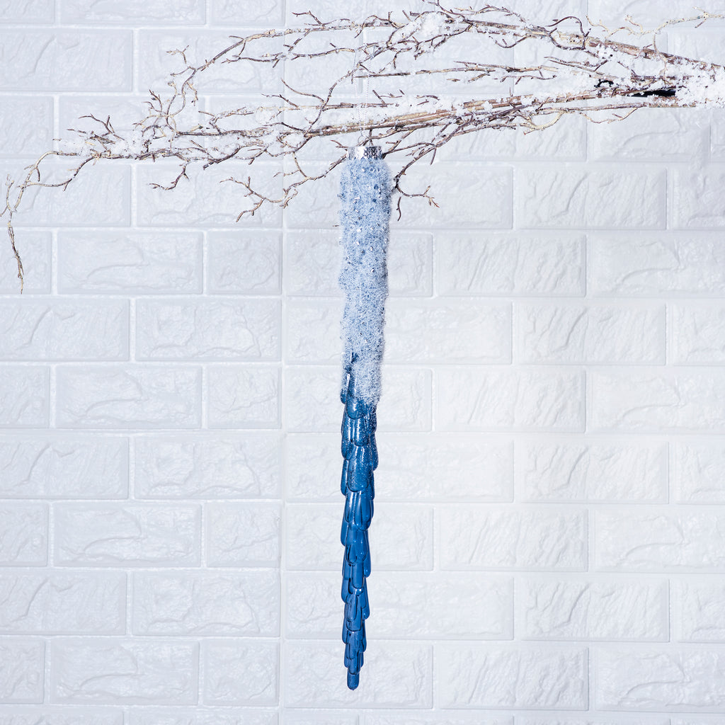 Icy Snowy Midnight Blue Icicle Christmas Ornament- 2 Size Options