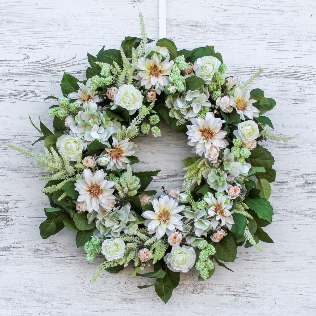 Ivory Goddess - Cream Green Hydrangea, Dahlia & Astilbe Everyday Spring Summer Front Door Wreath