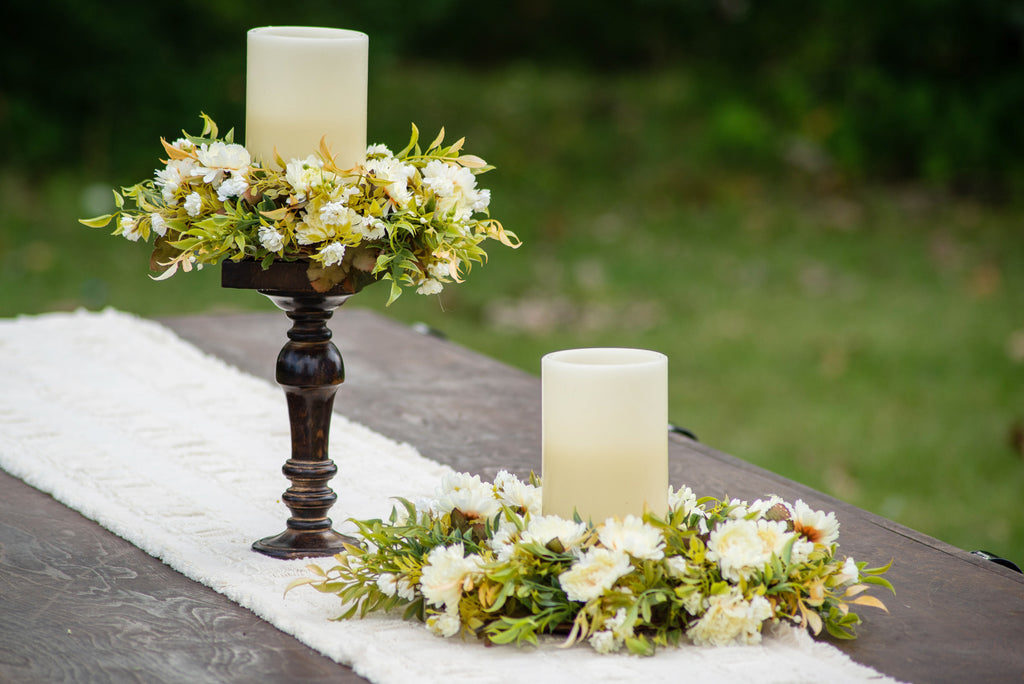 Ivory Mums & Seeded Nandina Candle Ring or Mini Wreath Centerpiece