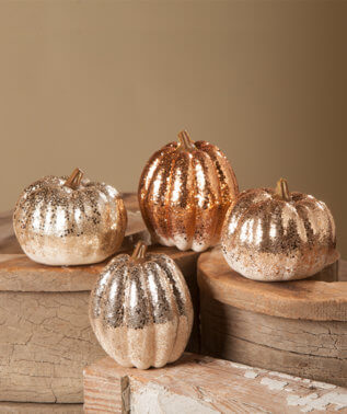 Shades of Gold Glitter Pumpkin Halloween Decor- Set of 4