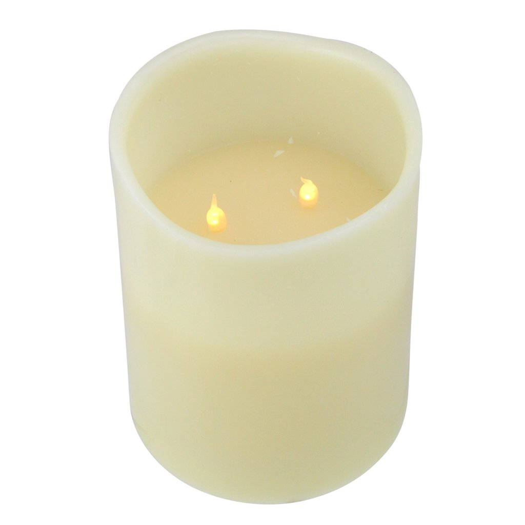 Ivory LED Flameless 3-Wick Real Wax Battery Operated Flickering Pillar Candle