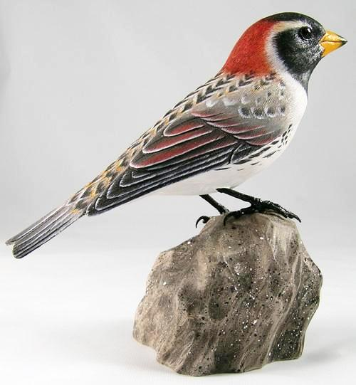Lapland Longspur - Hand Carved Wooden Bird