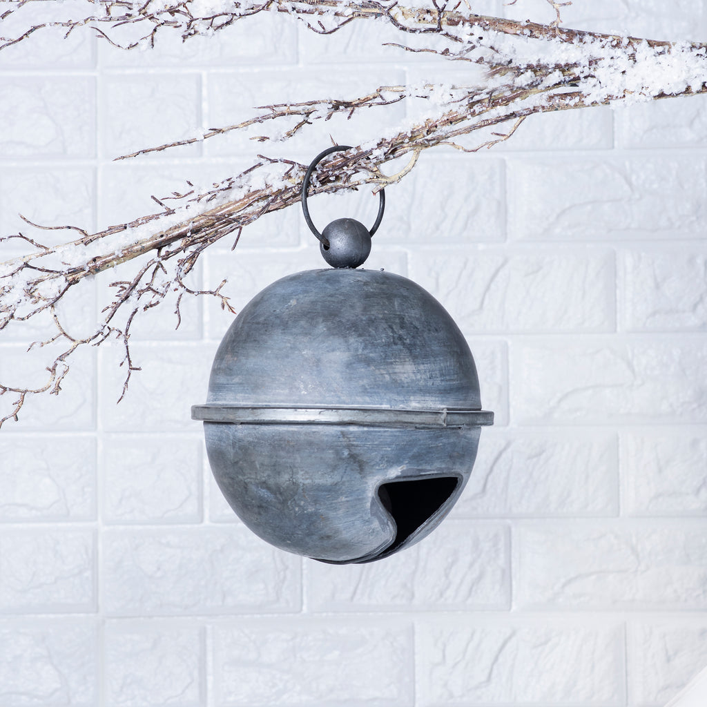 Large Antiqued Distressed Silver Rustic Farmhouse Sleigh Bell Ornament