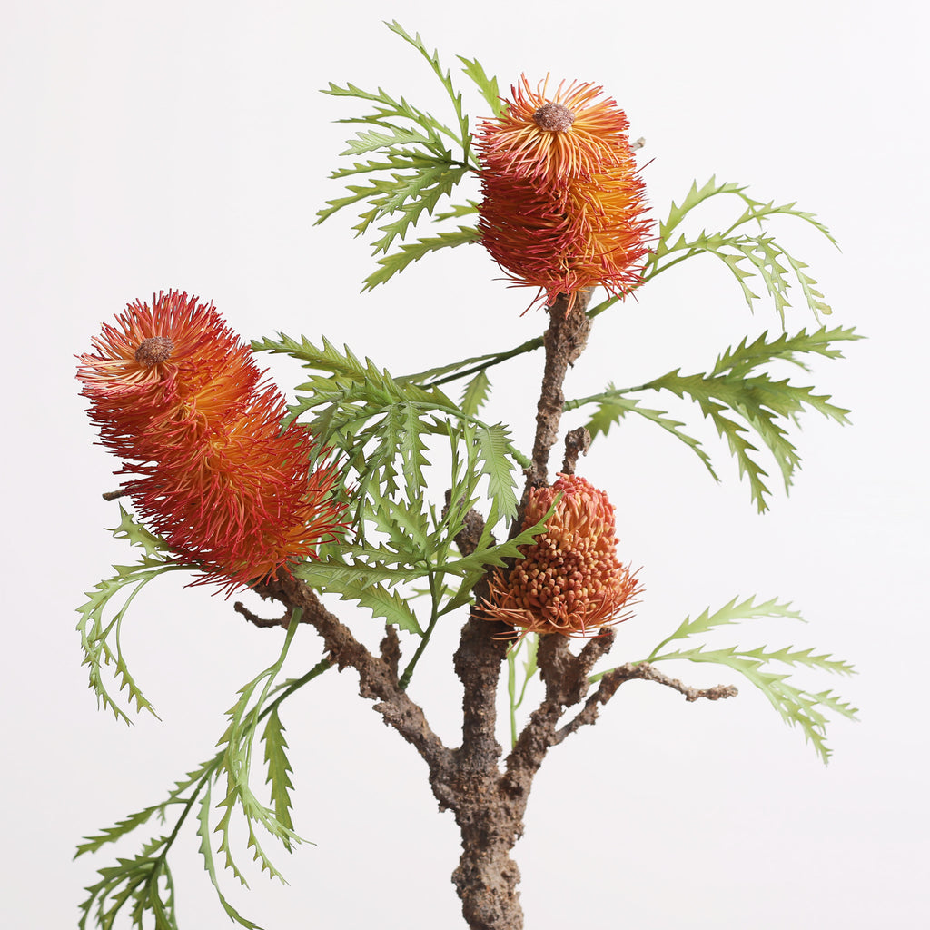Large Faux Banksia Branch Houseplant in Gold Etched Pot - 3 Color Options