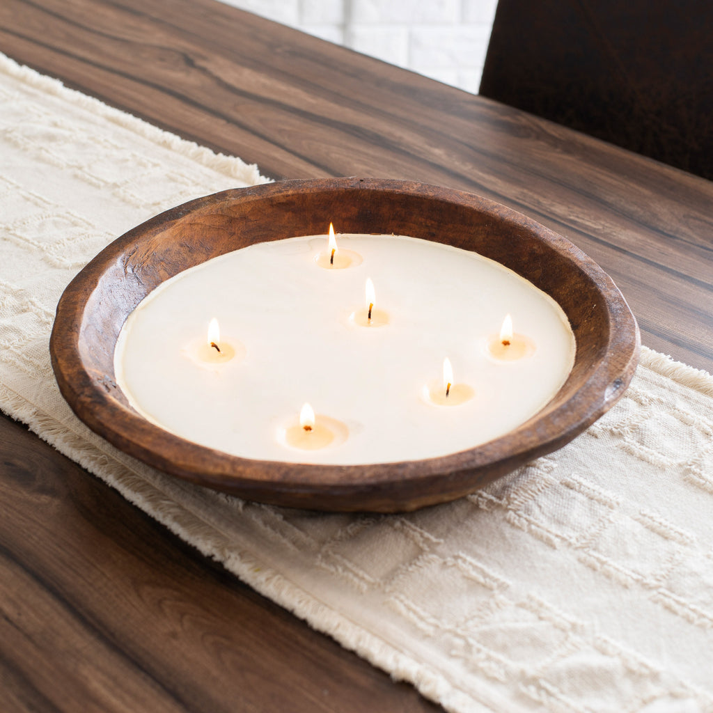 Large Hand Carved Spanish Oak Round Wooden 6 Wick Soy Candle Bowl