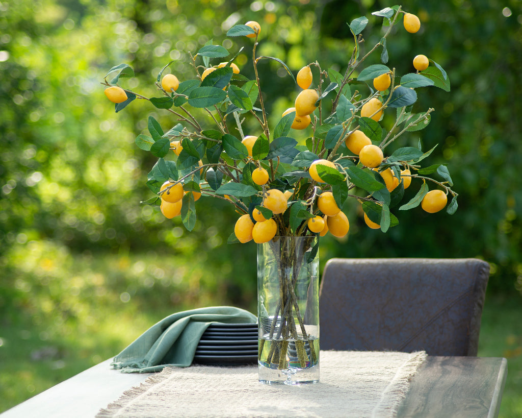 Meyer Lemon Tree Branches in Illusion Water Everyday Spring Arrangement in Tall Glass Vase