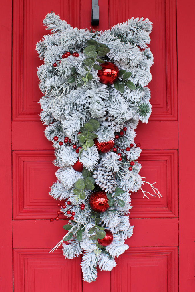 Large Snowy Pine, Eucalyptus & Red Ornament Front Door Christmas Holiday Teardrop Swag