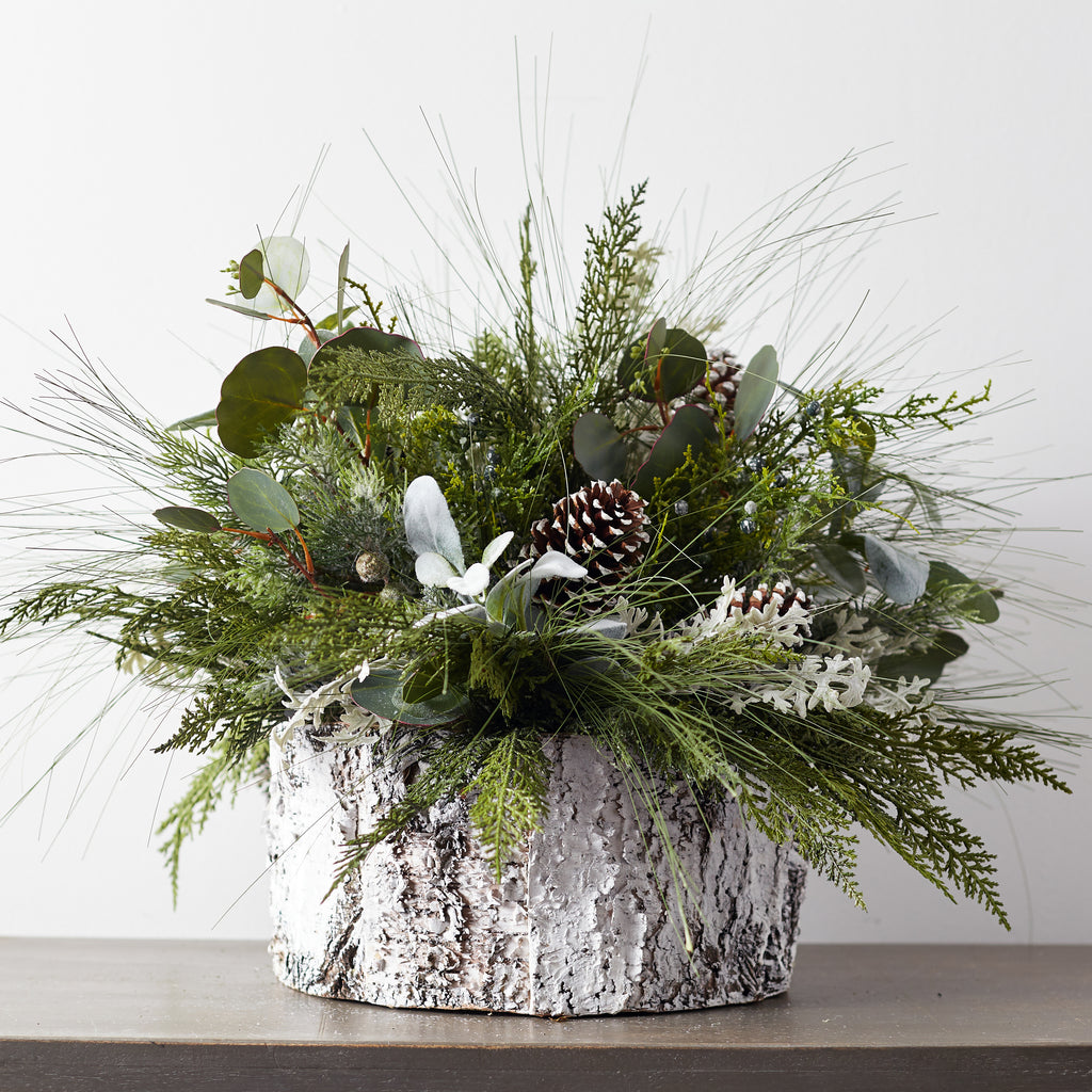 Large Winter Greenery & Frosted Pinecone Centerpiece Arrangement in White Faux-Birch Base