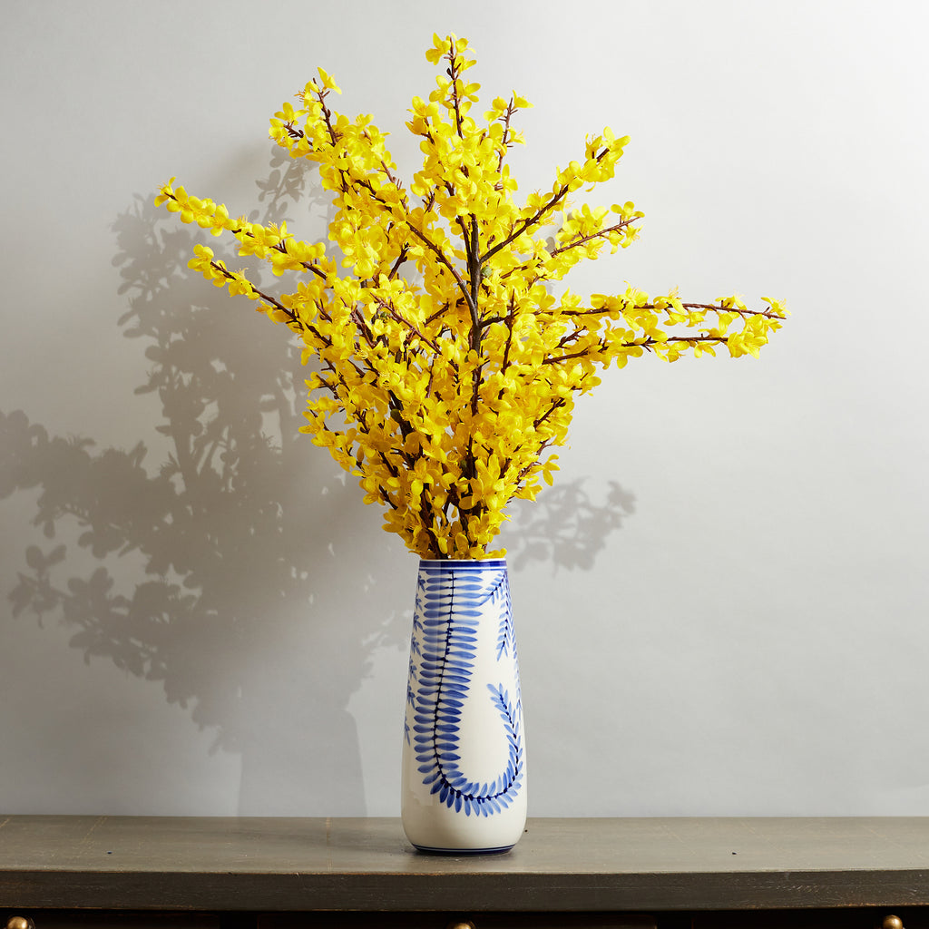 Large Forsythia Spring Summer Floral Arrangement in White & Blue Ivy Ceramic Vase