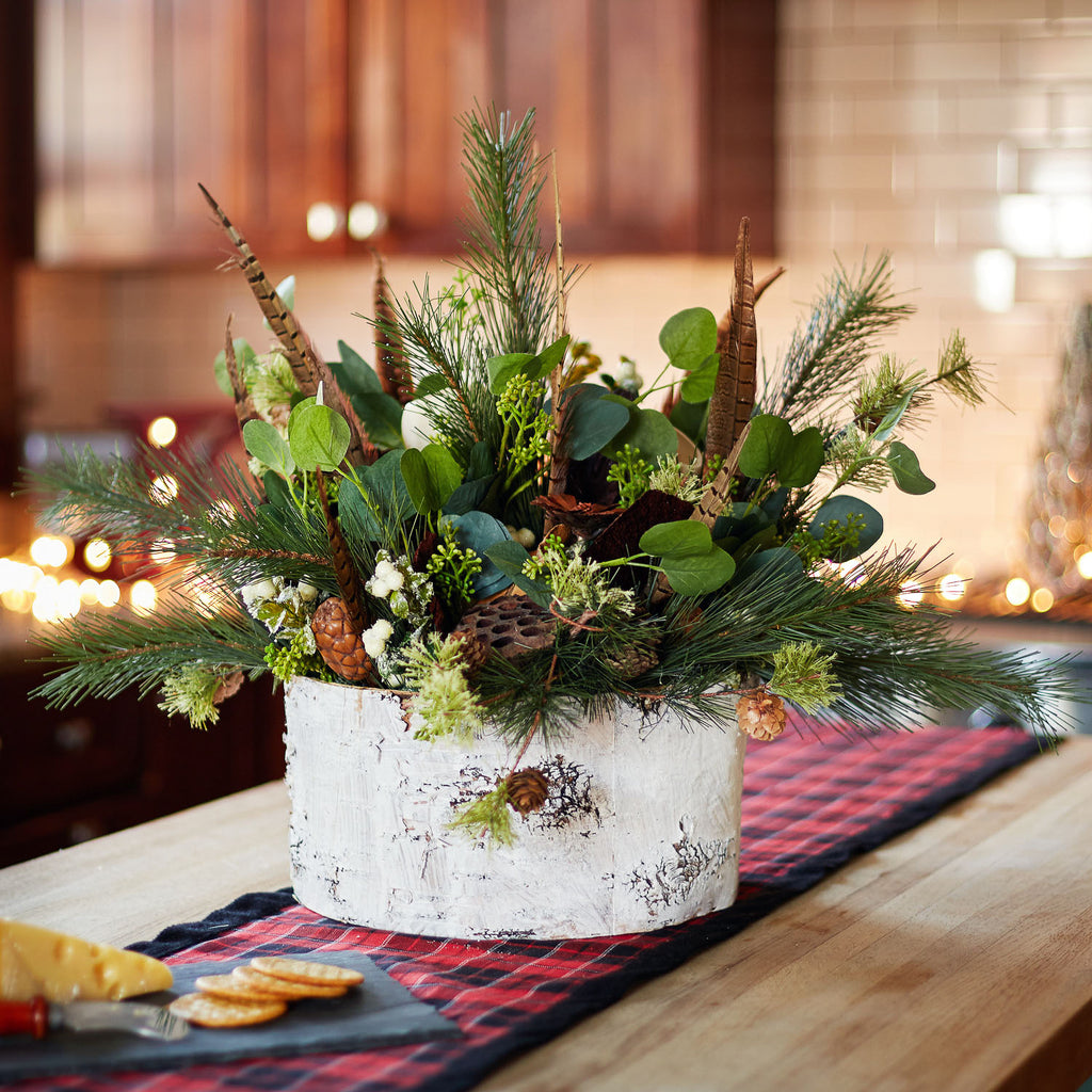 Large Winter Forest Centerpiece Arrangement with Dried Mushroom, Pheasant Feather & Mixed Greens in Faux-Birch Base