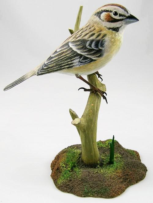 Lark Sparrow - Hand Carved Wooden Bird