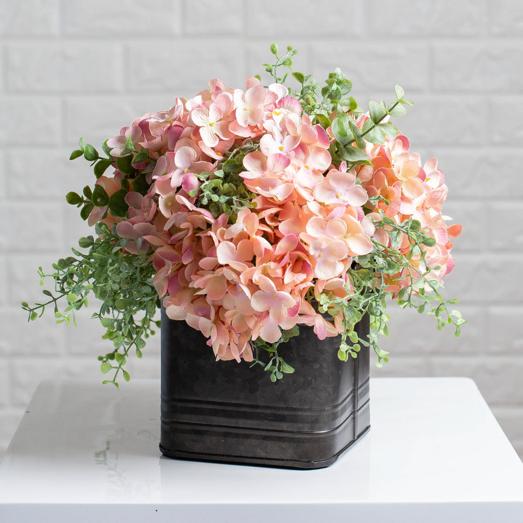 Light Pink Hydrangea & Mixed Eucalyptus Everyday Floral Arrangement Centerpiece in Metal Tin - 3 Size Options