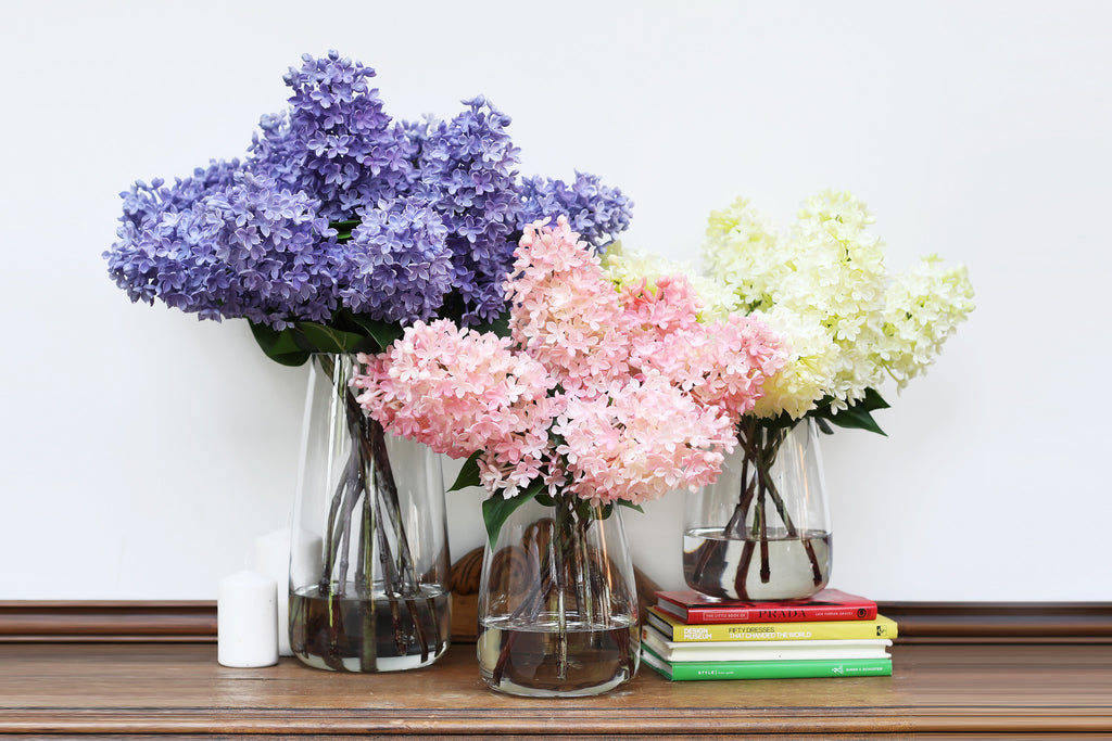 Lilac Floral Arrangement in Glass Vase - Customized Size and Color Options