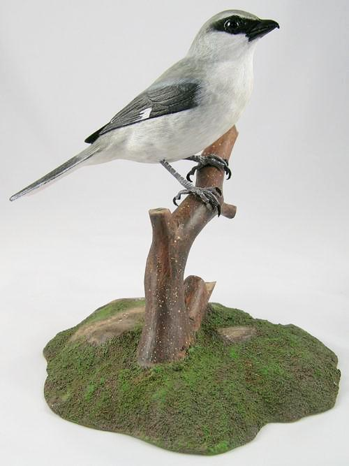 Loggerhead Shrike#2 - Hand Carved Wooden Bird