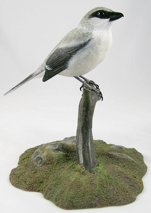 Loggerhead Shrike#3 - Hand Carved Wooden Bird