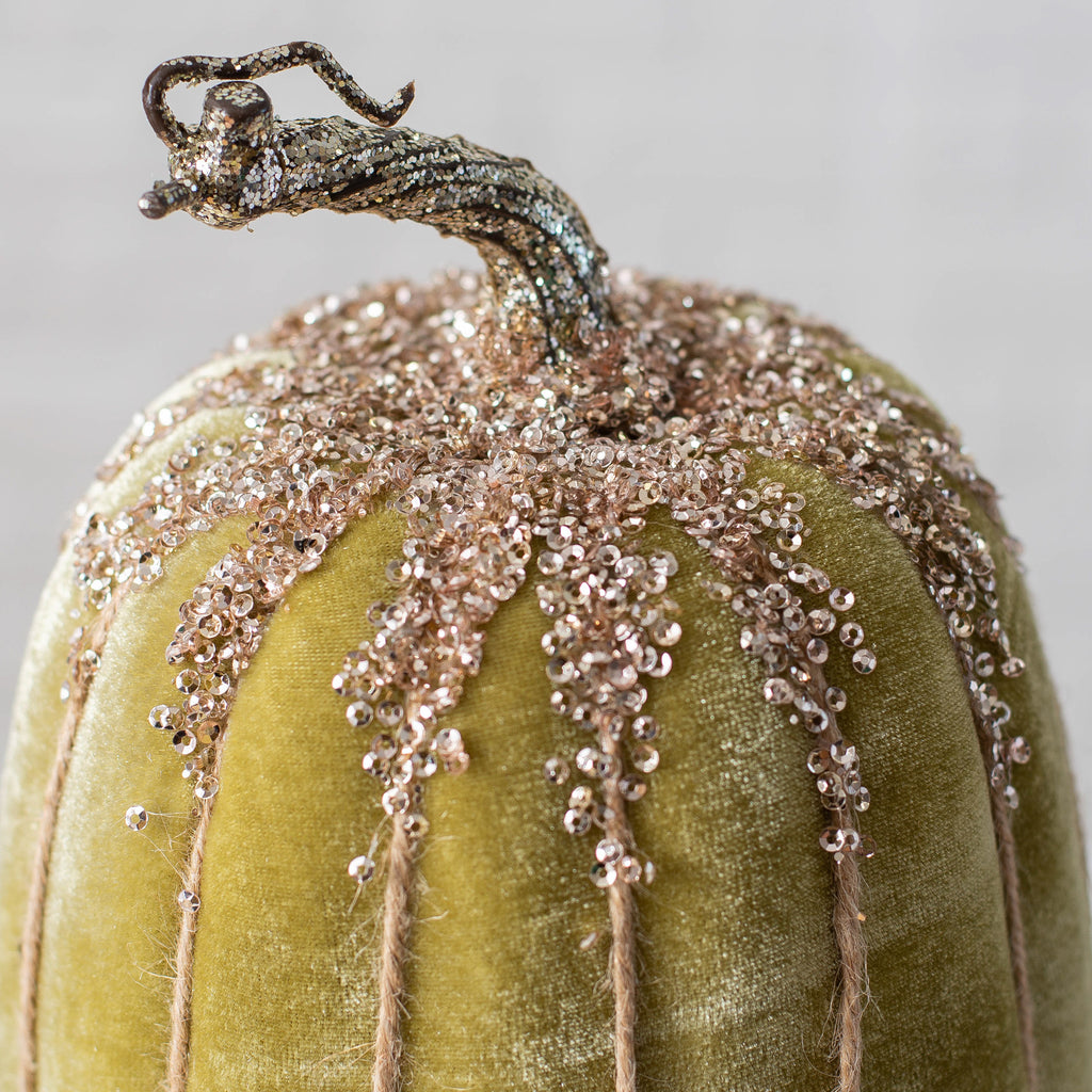 Luxury Velvet & Gold Glitter Sequin Pumpkin Set of 2 - Light Sage/Gold