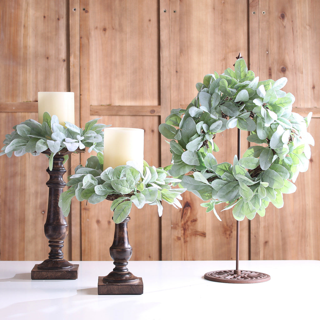 Mint Green Fuzzy Lamb's Ear Mini Wreath or Candle Wreath Centerpiece