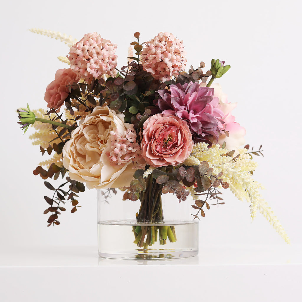 Mauve Blush Peony, Cream Rose & Purple Dahlia Everyday Arrangement Centerpiece in Glass Vase