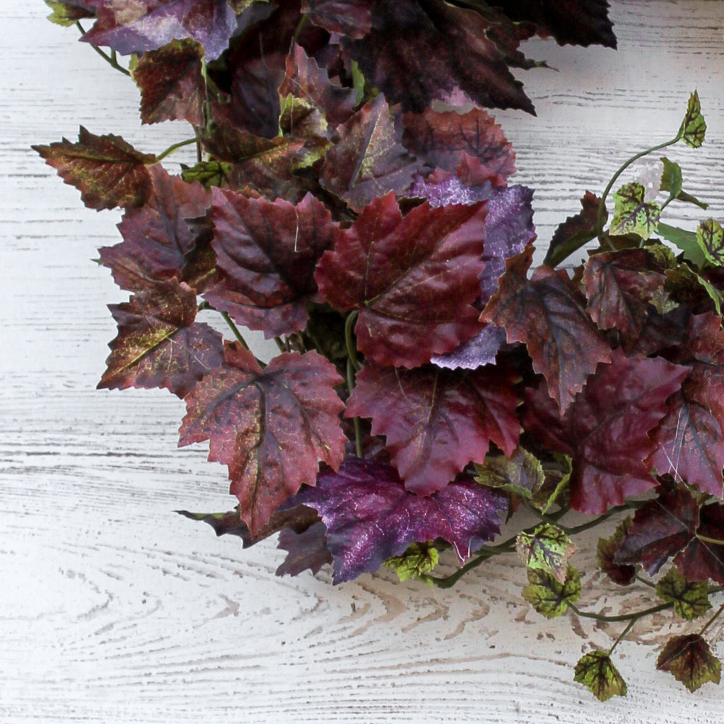 Mauve Purple Grapevine Leaf Foliage Autumn Fall Front Door Wreath
