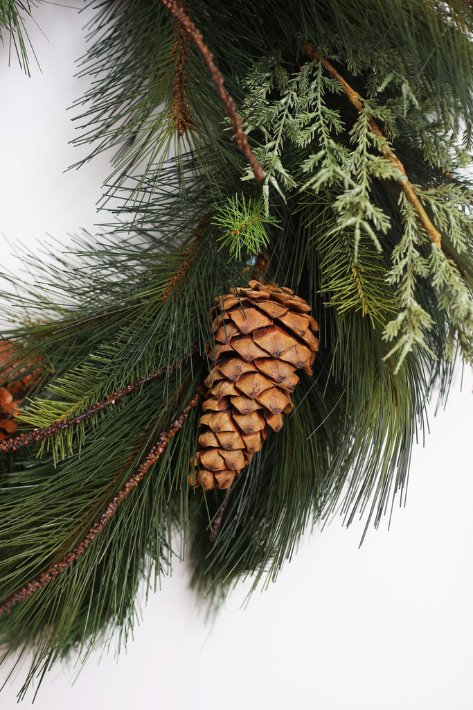 Mixed Pine, Pinecone & Twig Christmas Winter Front Door Wreath