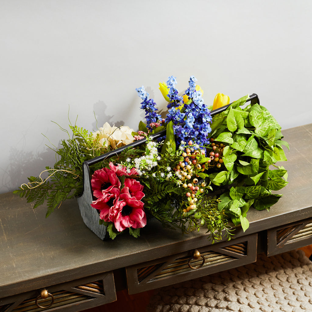 Mixed Floral Garden Spring Summer Centerpiece Floral Arrangement in Galvanized Metal Trough