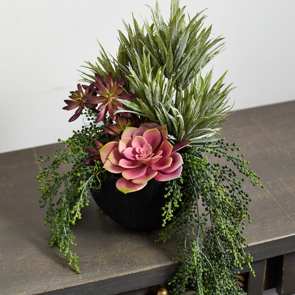 Mixed Faux Succulent Draping Everyday Spring Summer Arrangement in Textured Black Pot