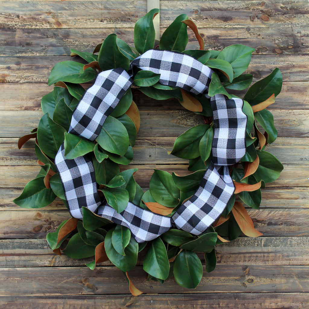 Modern Farmhouse - Real Touch Magnolia with Black and White Buffalo Ribbon Everyday Front Door Wreath