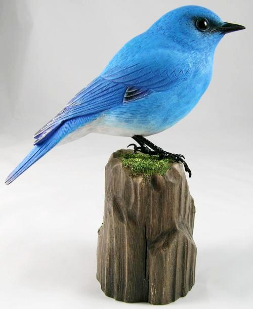 Mountain Bluebird - Hand Carved Wooden Bird