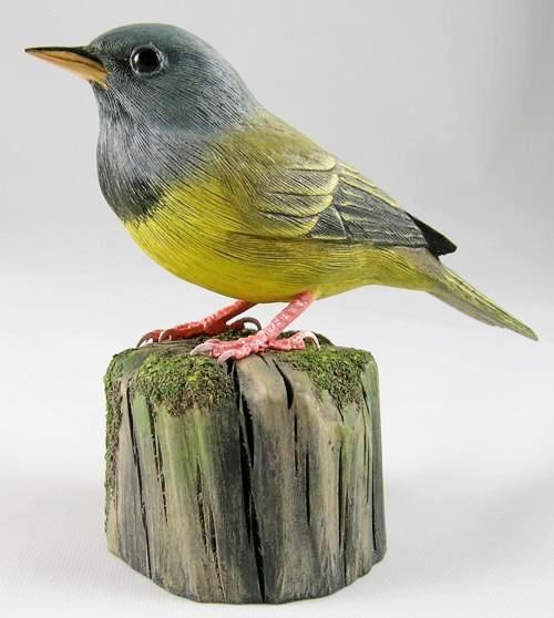 Mourning Warbler - Hand Carved Wooden Bird