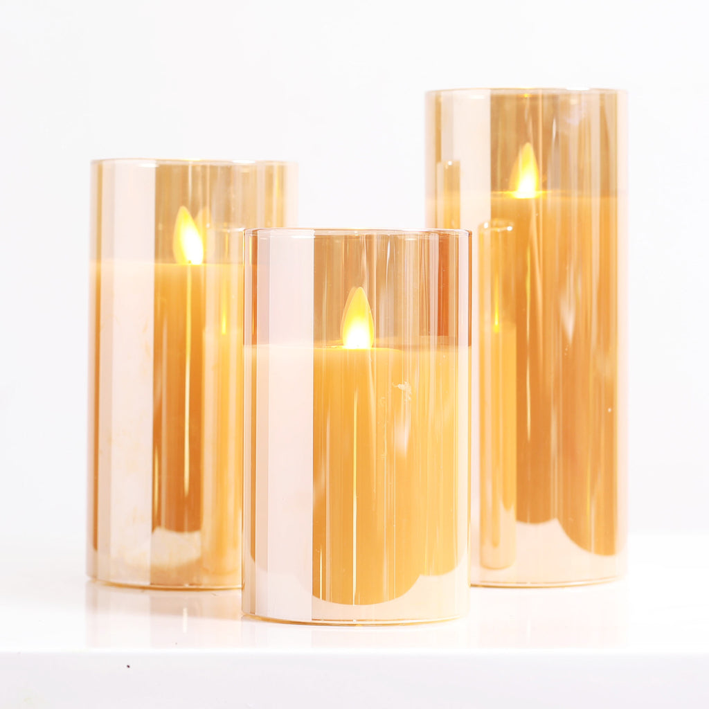 Moving Flameless LED Amber Glass Pillar Candles with Remote- Set of 3