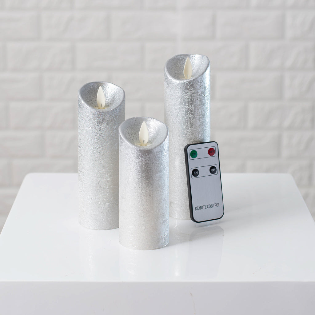 Moving Flameless LED Silver Metallic Pillar Candles with Remote- Set of 3