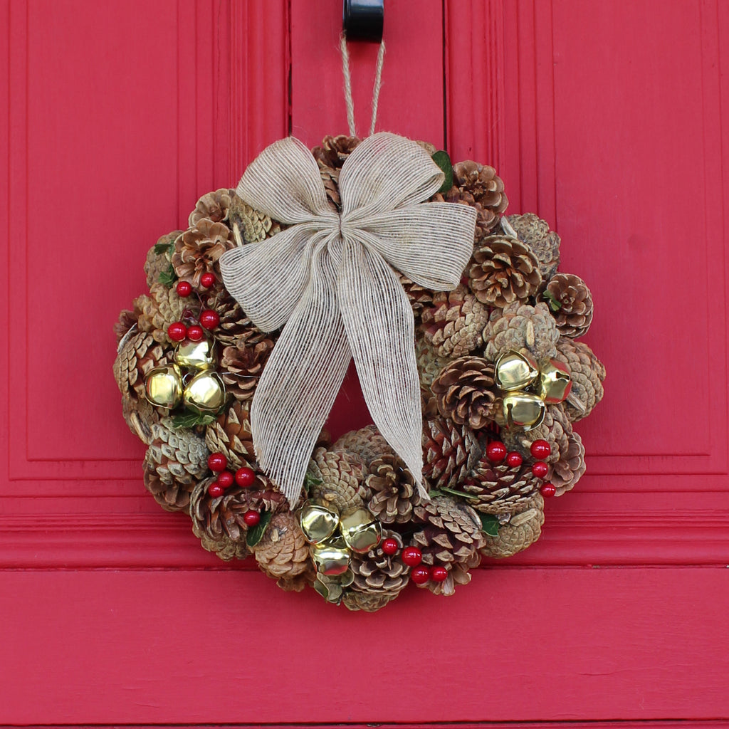 Natural Pinecone, Gold Jingle Bell & Red Berry Front Door Christmas Wreath with Burlap Bow