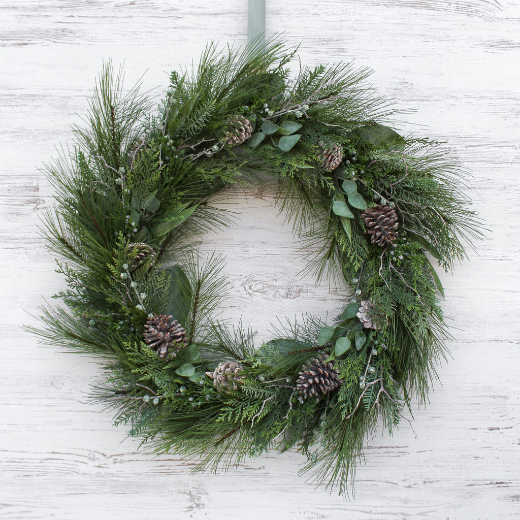Natural Touch Pine & Eucalyptus Winter Foliage Branches Pinecone Holiday Christmas Wreath - Large 36 Inch