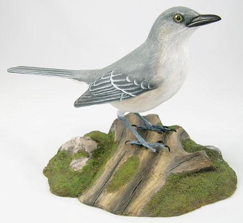 Northern Mockingbird#2 - Hand Carved Wooden Bird