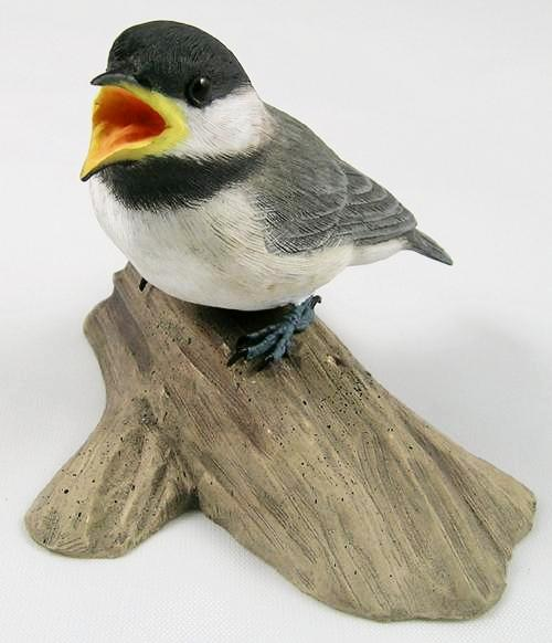 Open Mouth Baby Black-capped Chickadee - Hand Carved Wooden Bird