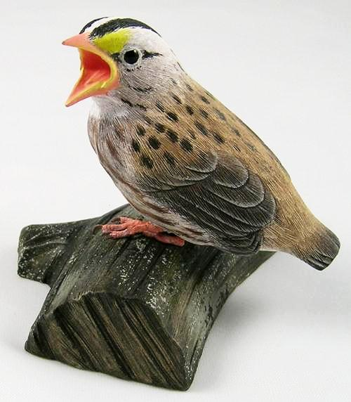 Open Mouth Baby White-throated Sparrow - Hand Carved Wooden Bird