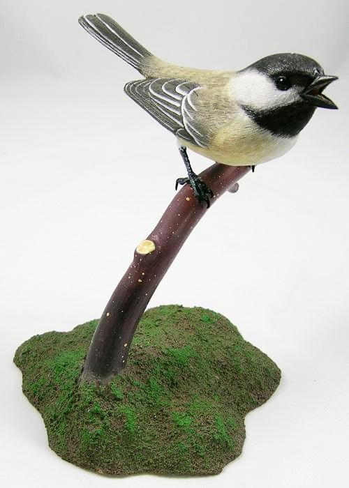 Open Mouth Black-capped Chickadee - Hand Carved Wooden Bird