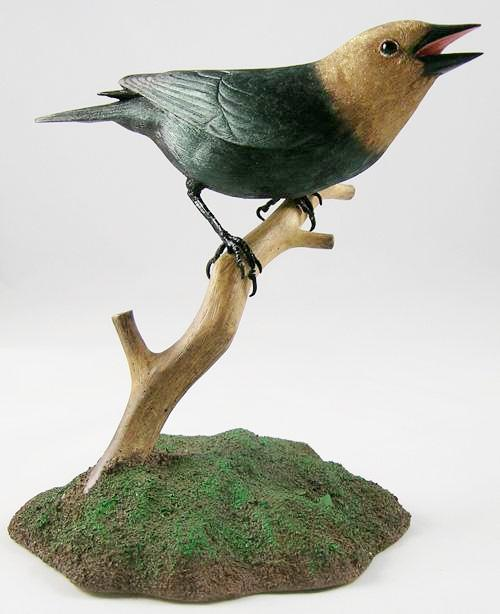 Open Mouth Brown-headed Cowbird - Hand Carved Wooden Bird