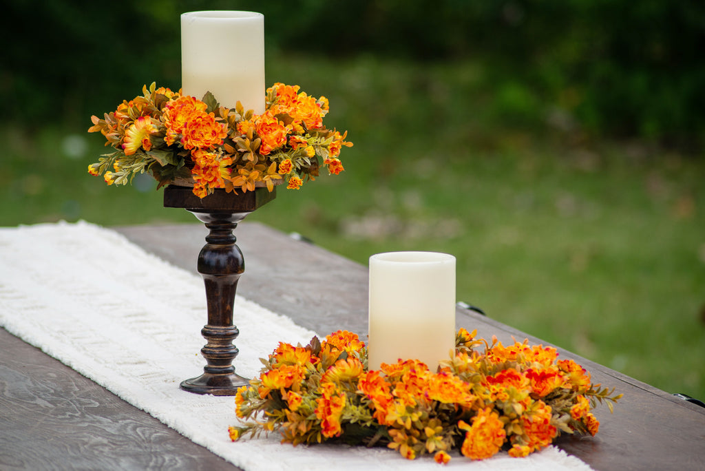 Orange Rust Mums & Amber Boxwood Fall Candle Ring or Mini Wreath Centerpiece