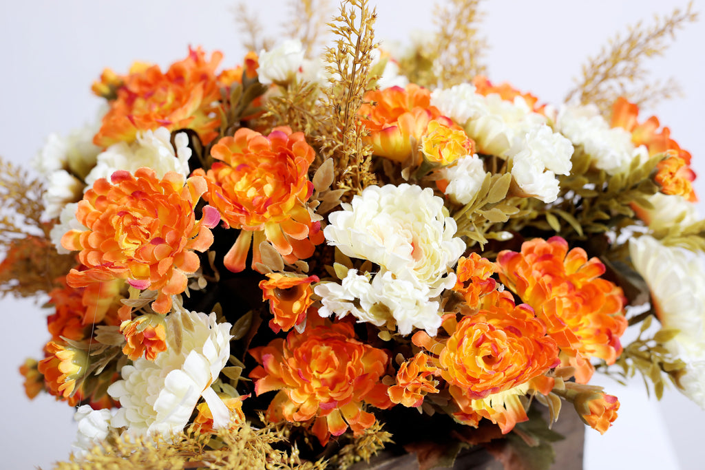 Orange Rust & Ivory Mums with Wheat Floral Arrangement Centerpiece in Wood Planter