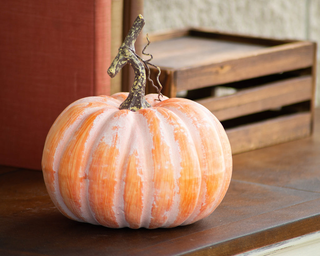 Classic Orange Thanksgiving Fall Harvest Home Decor Pumpkins - Set of 2
