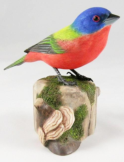 Painted Bunting#3 - Hand Carved Wooden Bird