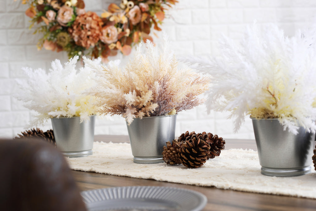 Pampas Grass Arrangement in Metal Tin - 2 Color Options